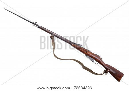 Soviet Rifle With Bayonet Isolated On White