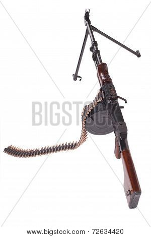 Old Machine Gun Isolated On White