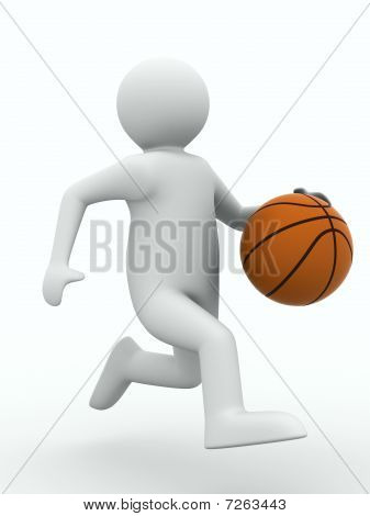 Basketball Player With Ball On White Background. Isolated 3D Image