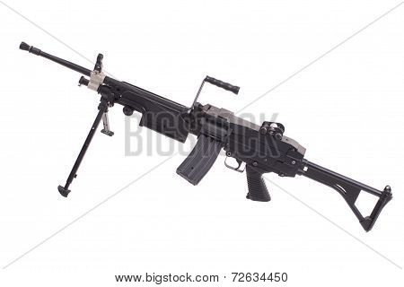 modern infantry machine gun isolated on white background