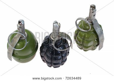 Set Of  Soviet  Hand Grenades Isolated On A White Background