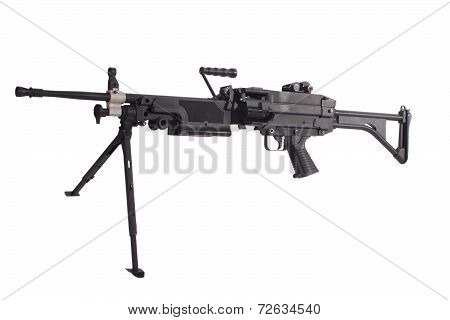 M249 Us Army Machine Gun Isolated On White
