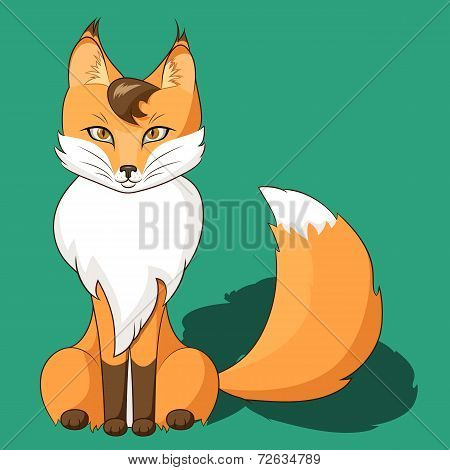 Orange Fox Sitting Isolated On Neutral Background