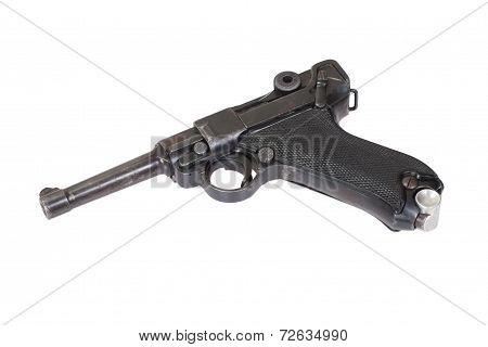 P08 Parabellum handgun isolated on white background