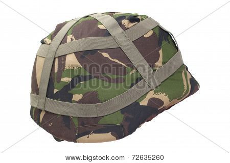Kevlar Helmet With Dpm Pattern Camouflaged Cover Isolated On Whi