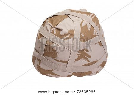 Kevlar Helmet With Desert Pattern Camouflaged Cover Isolated On White
