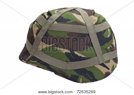 Kevlar Helmet With Dpm Pattern Camouflaged Cover Isolated On White