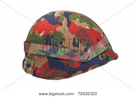 Swiss Army Stell Helmet With Camouflaged Cover