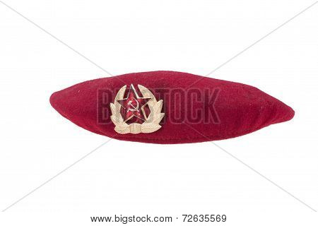Soviet Army Airborne Forces Rep Beret Isolated On White Background