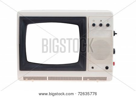 Vintage Tv Set With Blank White Screen Isolated On White