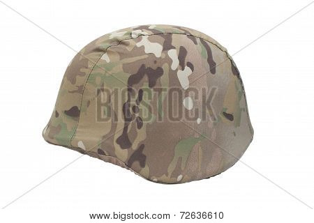 Kevlar Helmet With Multicam Pattern Camouflaged Cover Isolated On White