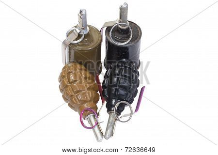 Hand Grenades Isolated On A White Background