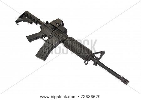 Carbine With Gunsight Isolated On A White Background