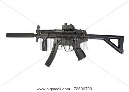 Submachine Gun With Silencer Isolated