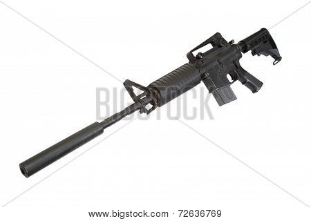 Carbine With Silencer Isolated On A White Background