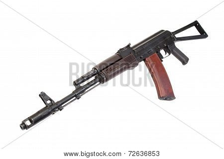 Kalashnikov Paratrooper Assault Rifle Isolated On A White Background