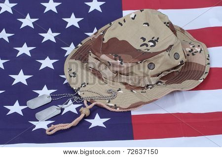 Us Stars And Stripes With Camouflage Hat And Dog Tags