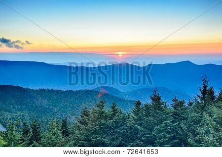 Top Of Mount Mitchell Before Sunset