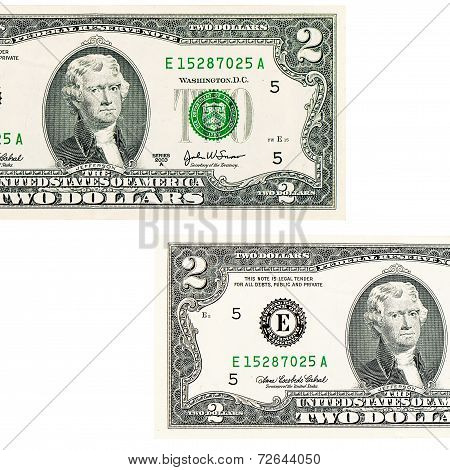 Two Dollars Isolated On White Background