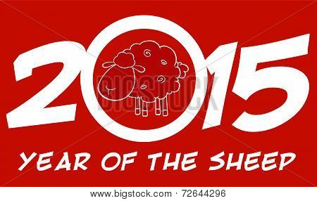 Year Of Sheep 2015 Numbers Design Card With Sheep And Text
