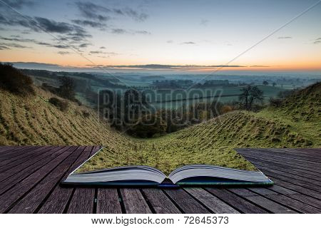 Book Concept Stunning Sunrise Over Fog Layers In Countryside Landscape