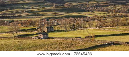 Panorama Landscape Traditional Stone Barn In Autumnal Countryside Lit With Sunlight