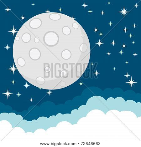 Full Moon in the Starry Cosmic Dark Blue Sky with Space for Text