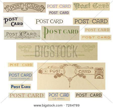 Collage de texto de tarjeta postal