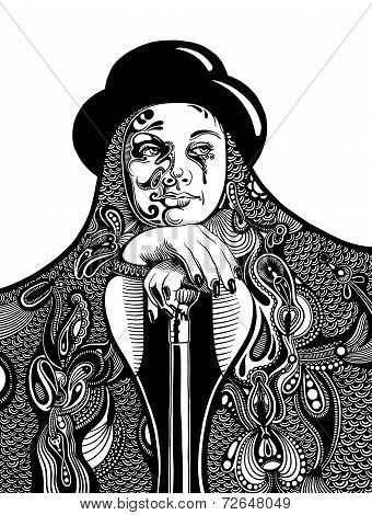 black and white artistic drawing of young witch in a hat and wit