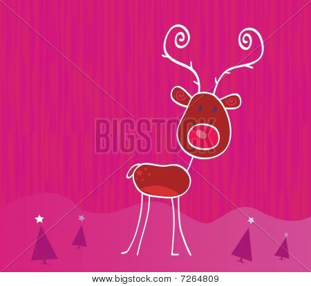 Doodle christmas reindeer  on snow