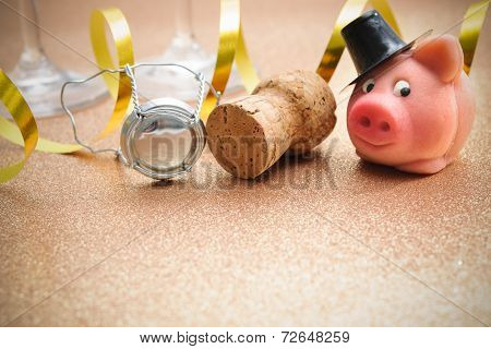 Lucky Pig And Cork From Champagne Bottle