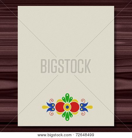 Moravian Folk Ornament Writing Paper Wood Texture Background