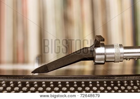 Dj Stylus On Spinning Vinyl, Record Background