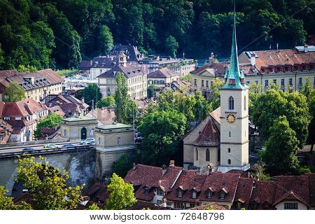 Bern Cityscape. Swiss Capital City. Nydeggkirche (nydegg Church).