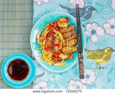 Chicken With Vegetables In Teriyaki Sauce In Japanese