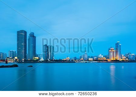 Xiamen Skyline Closeup In Nightfall