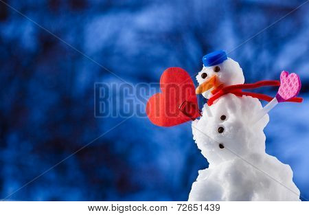 Little Happy Christmas Snowman Heart Love Symbol Outdoor. Winter Season.