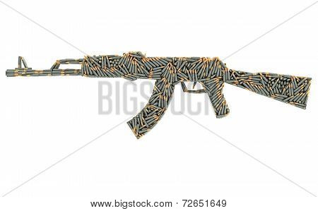 Assault Rifle Shape Composed Of Ammunition Cartridges Isolated On White