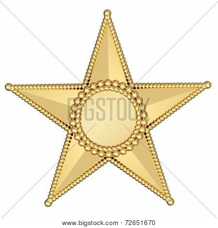 Gold Star With Blank Plate Isolated On White