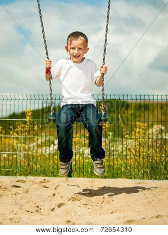 Little Blonde Boy Child Having Fun On A Swing Outdoor