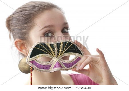 Teenage girl with a Venetian carnival mask