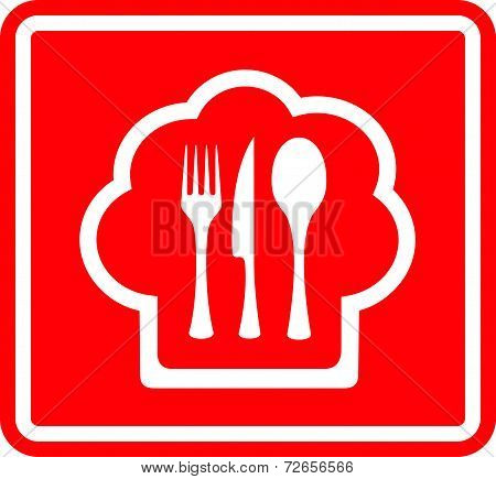 Red Restaurant Icon With Cook Hat And Utensil