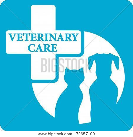 Veterinariry Care Icon With Dog And Cat
