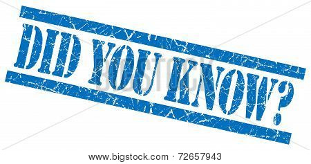 Did You Know Blue Grungy Stamp Isolated On White Background
