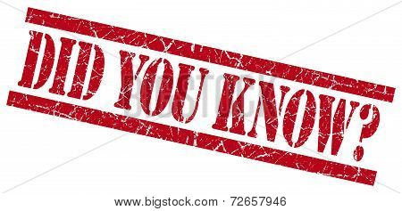 Did You Know Red Grungy Stamp Isolated On White Background