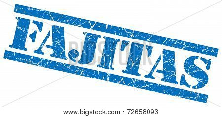 Fajitas Blue Grungy Stamp Isolated On White Background