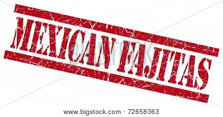 Mexican Fajitas Red Grungy Stamp Isolated On White Background