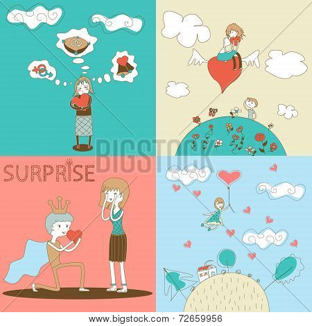 Doodle Girls and Boys Characters with Heart Landscape Clouds House Template on Stylish Background Mo