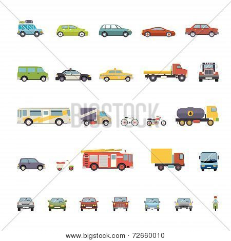Modern Flat Design Transport Symbols Stylish Retro Car Icons Set Isolated Vector Illustration