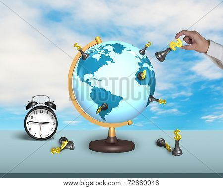 Hand Hold Dollar Chess On Terrestrial Globe With Clock